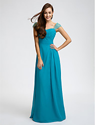Lanting Bride® Floor-length Chiffon Bridesmaid Dress Sheath / Column Straps with Beading / Sash / Ribbon / Criss Cross / Ruching