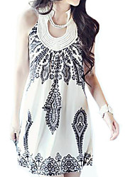 Women's White/Black  Halter Floral Print Beaded Sleeveless Mini Dress