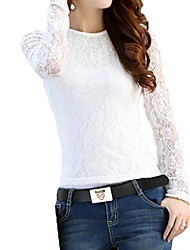 Women's Lace/Solid White/Black T-shirt Long Sleeve Lace