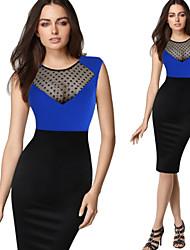 Vita Women's Plus Size Vintage/Sexy/Bodycon/Casual/Party Long Sleeve Winter Dresses (Cotton Blend)