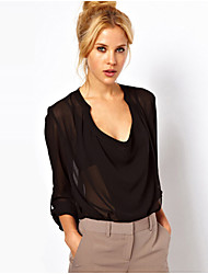 Women's Solid White / Black Blouse , V Neck Long Sleeve