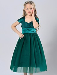 A-line Tea-length Flower Girl Dress - Satin / Tulle Sleeveless Square with
