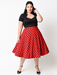 Party/Cocktail / Plus Size Vintage Swing Dress,Patchwork V Neck Knee-length Short Sleeve Red / White Cotton Spring Mid Rise Micro-elastic