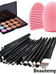 Kit di ombretti e fondotinta, pennelli inclusi per occhi e viso, utensili per pulizia pennelli (15 colori, 20 pezzi)