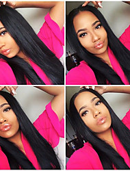 Virgin Brazilian Hair Italian Yaki Straight Lace Wigs Unprocessed Human Hair Wigs for Black Women 8''-26''