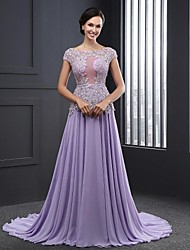 Formal Evening Dress Ball Gown Jewel Sweep / Brush Train Chiffon with Appliques