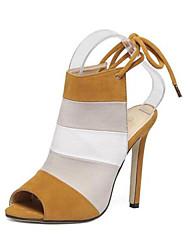 Scarpe Donna - Sandali - Formale - Tacchi / Spuntate - A stiletto - Felpato - Blu / Marrone