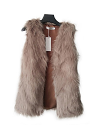 Fur Vests Vests Sleeveless Faux Fur Camel/Gray