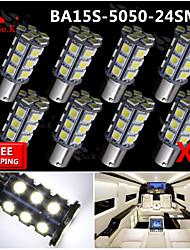 8x super luminoso ba15s blancos dirección trasero 1156 coche señal luminosa 24 llevó 12v SMD