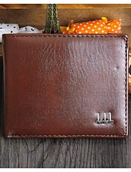 Men PU / Black Brown Cowhide Bi-fold Wallet / Clip