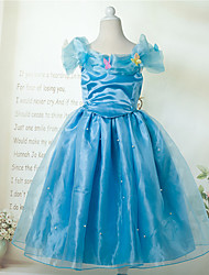 Cosplay Costumes Princess / Cinderella / Fairytale Movie Cosplay Blue Solid Dress Halloween / Christmas / New Year Kid Organza