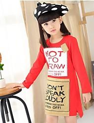 "Girl's ""NEWSPAPER STYLE"" Black / Red / Gray Dress , Cartoon Cotton Summer / Spring / Fall"