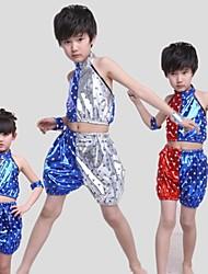 Roupa ( Azul / Vermelho / Prata , Lantejoulas , Jazz ) - de Jazz - Crianças