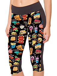 Woman Fashion Cartoon Food Stretch 7 Minutes Of Pants Pants For Fitness