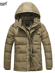 Lesmart Hombre Escote Chino Manga Larga Abajo y abrigos esquimales Caqui - EW13571