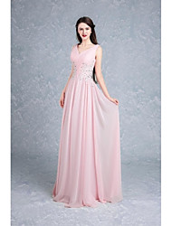 Ball Gown V-neck Floor Length Chiffon Formal Evening Dress with Beading Appliques