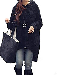 Women's Loose Asymmetric Hooded Long Sweater