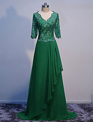 A-line Mother of the Bride Dress Floor-length Chiffon with Appliques / Beading