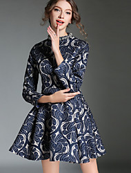 Women's Jacquard Weave Vintage Slim Waist The Big Pendulum Dresses