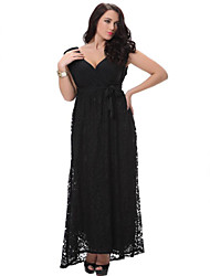 SWEET CURVE Women's Beach Loose / Swing Dress,Solid Deep V Midi Sleeveless Black Polyester Spring