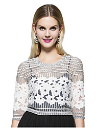 Women's Print White Blouse , Round Neck ¾ Sleeve