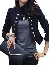 אחיד צווארון עומד(סיני) סגנון רחוב יום יומי\קז'ואל / עבודה בלייזר נשים,כל העונות שרוול ארוך לבן / שחור בינוני (מדיום) כותנה / פוליאסטר