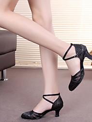 Non Customizable Women's Dance Shoes Leather / Patent Leather Leather / Patent Leather Latin Heels Cuban HeelPerformance / Practice /