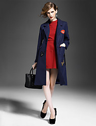 Women's Solid Blue / Red / Gray Coat , Casual Long Sleeve Polyester