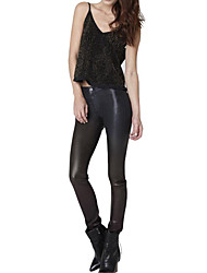 No wild autumn and winter high waist pocket leather motorcycle pants feet