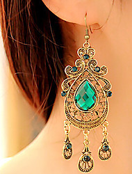 Women's Drop Earrings Vintage Victorian Fashion European Costume Jewelry Gemstone Alloy Drop Jewelry For