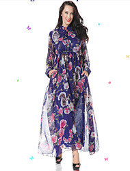 Women's Casual / Day / Boho / Beach Floral Trumpet/Mermaid Dress , Stand Maxi Spandex