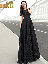 Temperament Ladies Fashion / Plaid Big Swing Dress / Organza