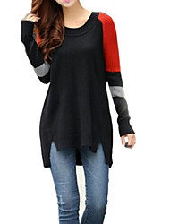 Women's Splicing Contrast Color Bodycon Wool Knitwear Sweaters(More Colors)