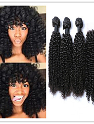 4pcs / lot mongol afrique crépus bouclés vierges humains faisceaux de tissage de cheveux avec l'extension de cheveux non traités de