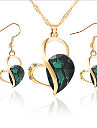 MISSING U Women Cute / Party Rose Gold Plated / Alloy / Rhinestone / Gemstone & Crystal Necklace / Earrings Jewelry Sets