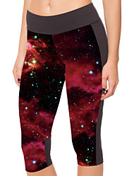 Woman Digital Printing Red Star Show Thin Wearing Trousers