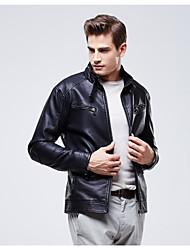 Men PU / Faux Leather Top , Fleece Lining PU Piga Vvelvet Collar Slim Leather Motorcycle