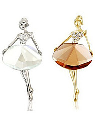 New Arrival Fashion Jewelry Rhinestone Crystal Ballet Girl Brooch