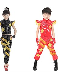 Jazz Outfits Children's Performance Sequined Sequins 4 Pieces Black / Red Jazz Sleeveless Bracelets / Top / Shorts