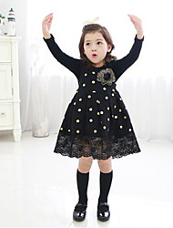 Girl's Fashion Golden Wave Point Princess  Long Sleeve Dress