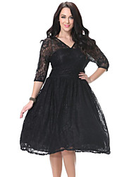 Women's Beach Plus Size / Skater Dress,Solid Deep V Knee-length ¾ Sleeve Black Polyester Spring
