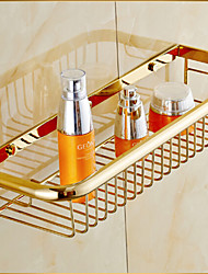 Gold-Plated Finish Brass Wall-mounted Storage Basket