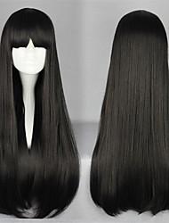 Perruques de lolita Doux Lolita Long Noir Perruque Lolita  70 CM Perruques de Cosplay Couleur Pleine Perruque Pour Femme