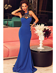 Women's  Royal Blue Elegant Mermaid Prom Dress