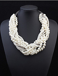 MPL The new European and American classic multi layered White Pearl Necklace