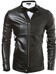 Men Korean Slim Leather Motorcycle Jacket , Lined