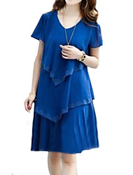 Women's Plus Size Solid Cultivating Chiffon Dress,V Neck Short Sleeve