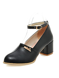 Women's Shoes Leatherette Chunky Heel Heels Heels Casual Black / White