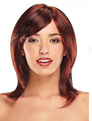 Beauty Girl Capless Wine Red Color Fashion Long Straight Mixed Honey Blonde Synthetic Wig with Side Bang