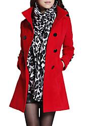Mulheres Casaco Vintage Inverno,Sólido Vermelho / Preto / Laranja / Amarelo Lã / Algodão / Outros Colarinho Chinês-Manga Longa Grossa